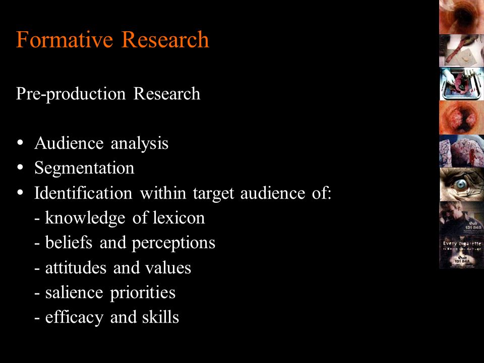 Formative Research Pre-production Research Audience analysis