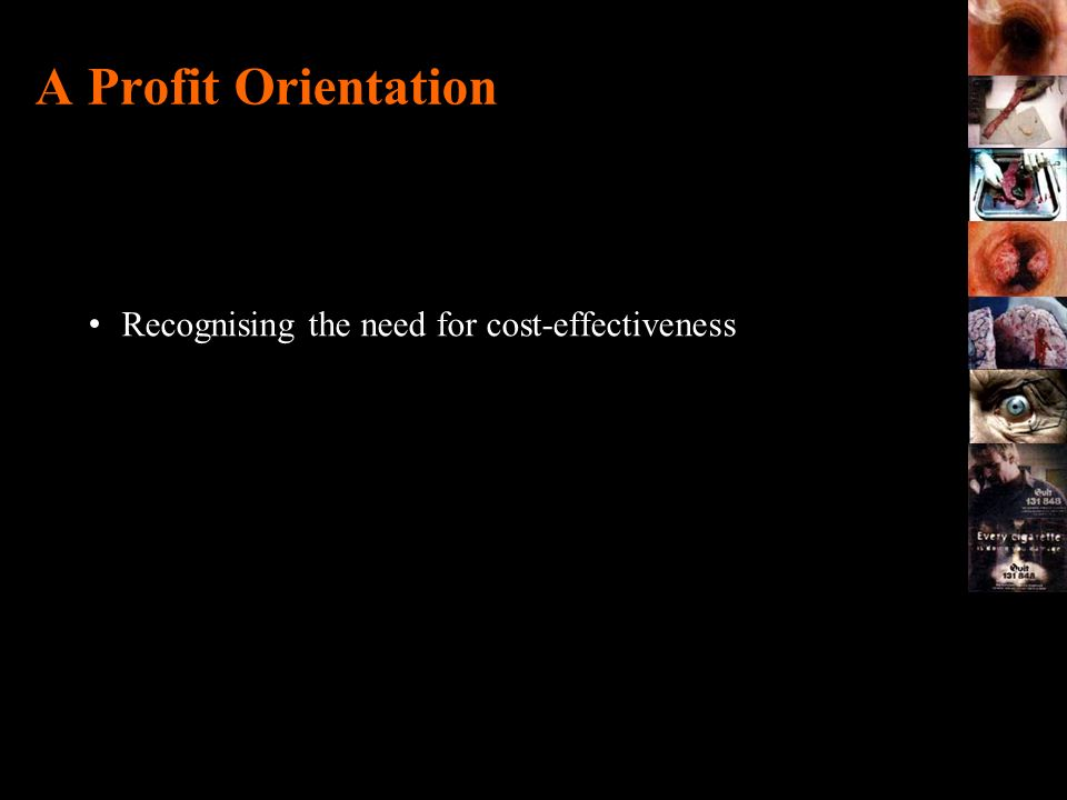 A Profit Orientation Recognising the need for cost-effectiveness .