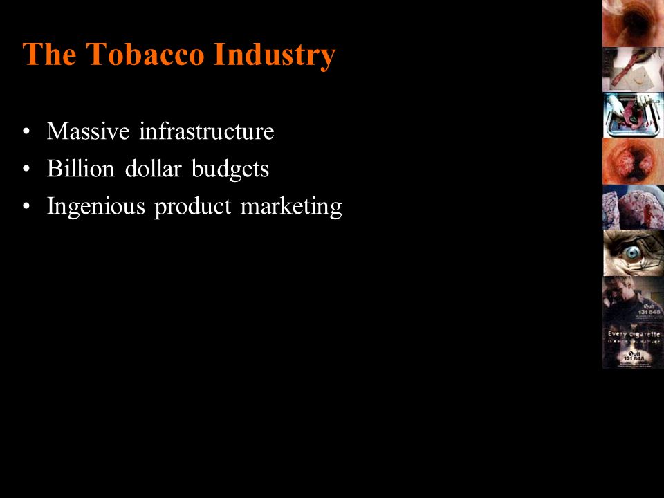 The Tobacco Industry Massive infrastructure Billion dollar budgets