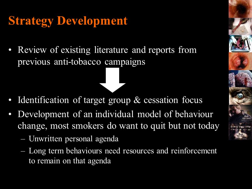 Strategy Development Review of existing literature and reports from previous anti-tobacco campaigns.
