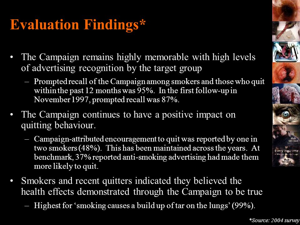 Evaluation Findings* The Campaign remains highly memorable with high levels of advertising recognition by the target group.