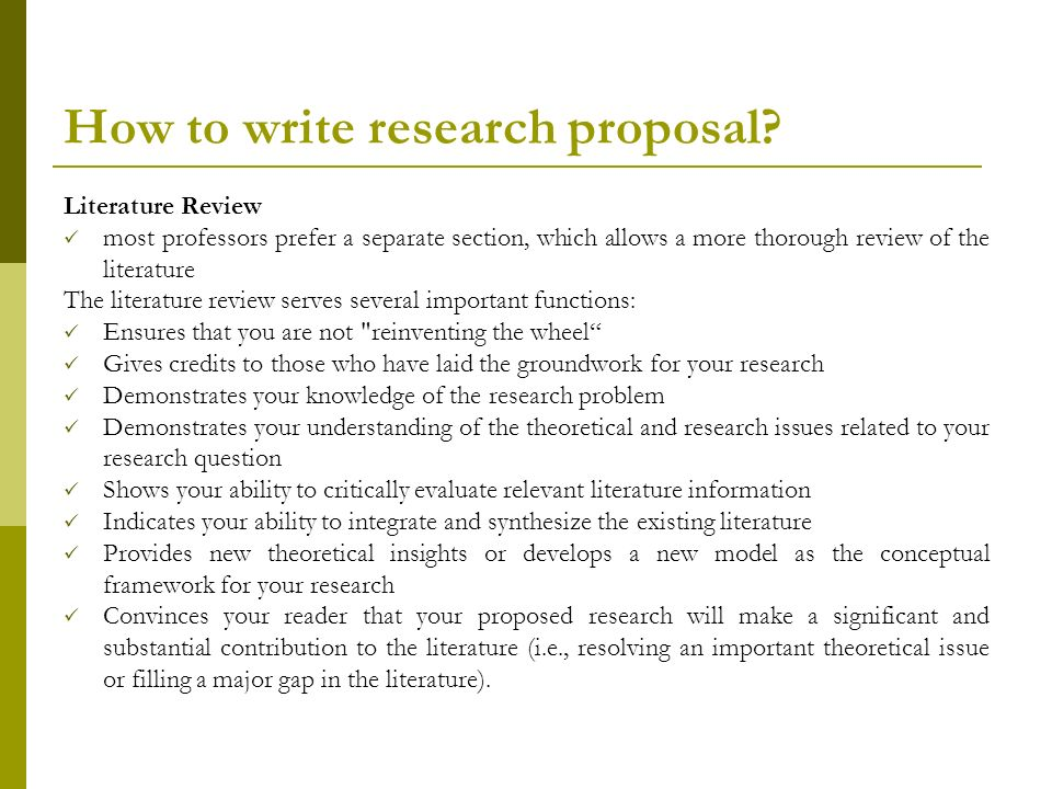 what are the steps in writing a research proposal