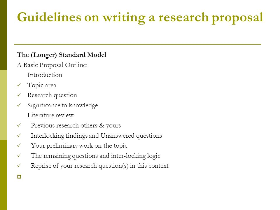 guidelines to research proposal writing