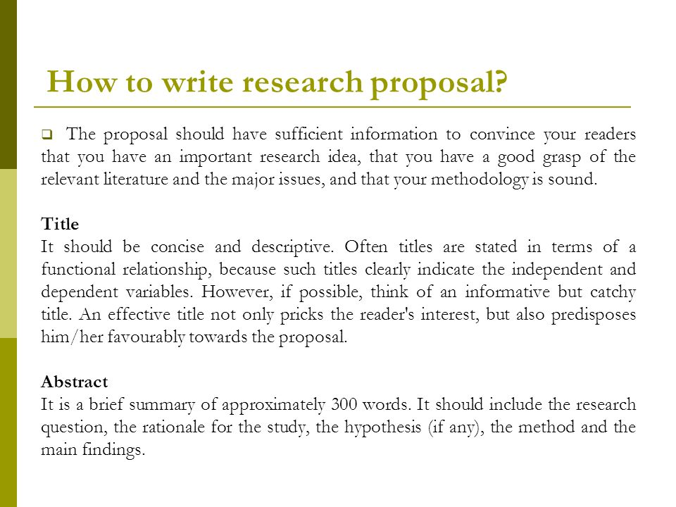 How to Write a Research Proposal - PowerPoint PPT Presentation
