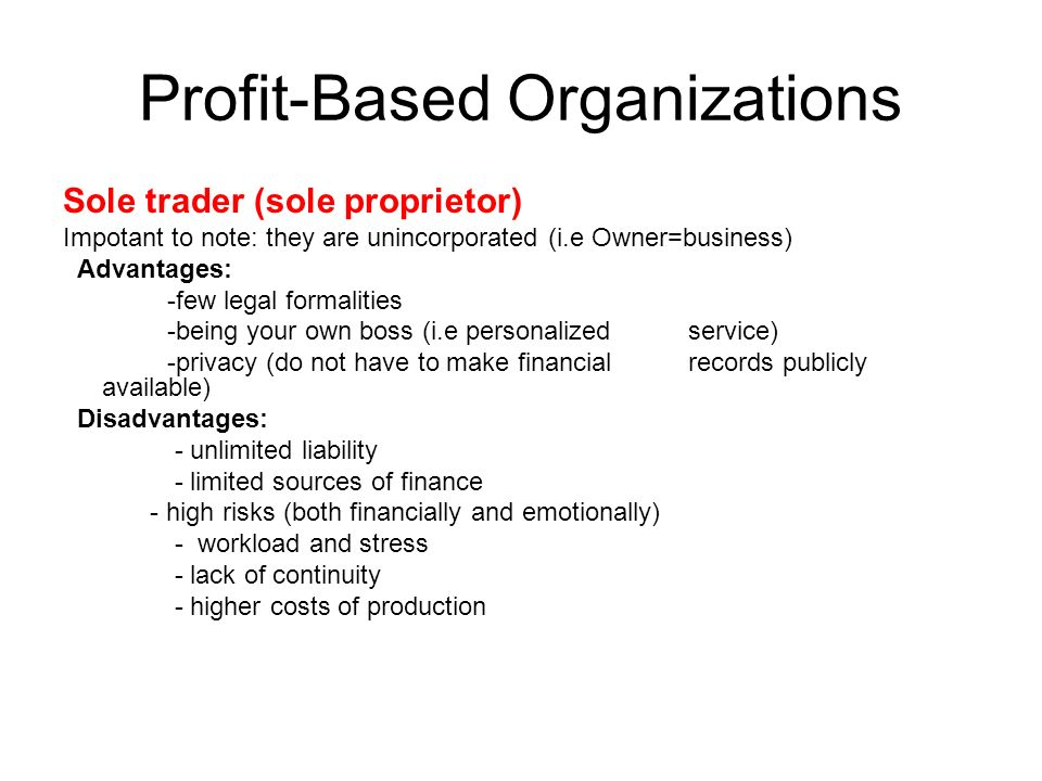 14 profit based organizations - Being Your Own Boss Advantages And Disadvantages