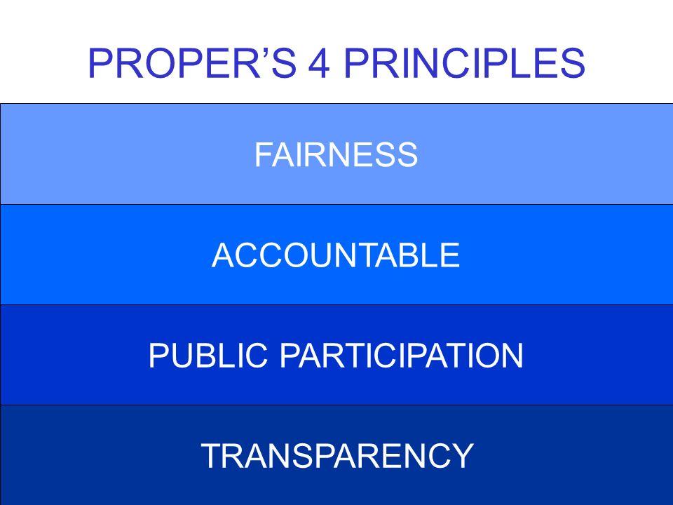 PROPER'S 4 PRINCIPLES FAIRNESS ACCOUNTABLE PUBLIC PARTICIPATION