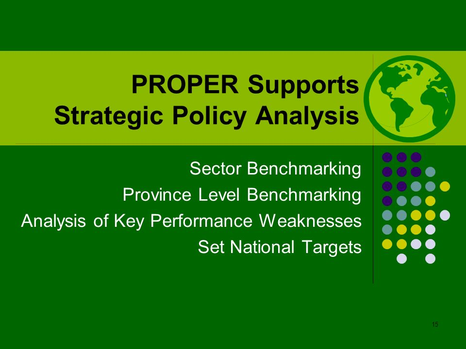 PROPER Supports Strategic Policy Analysis