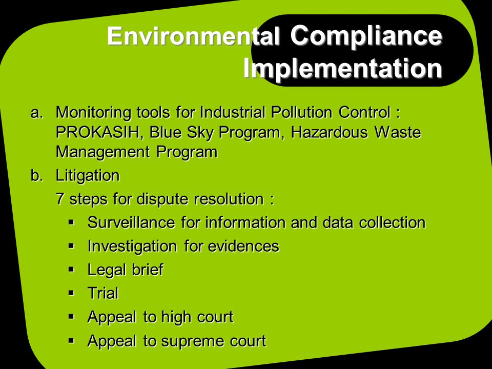 Environmental Compliance Implementation