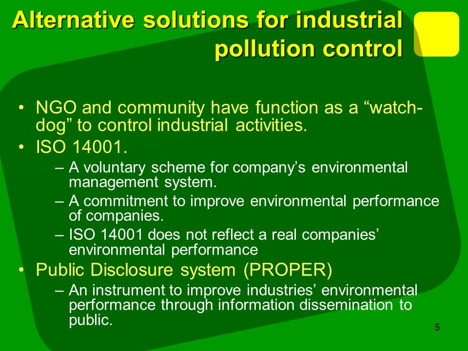 Alternative solutions for industrial pollution control