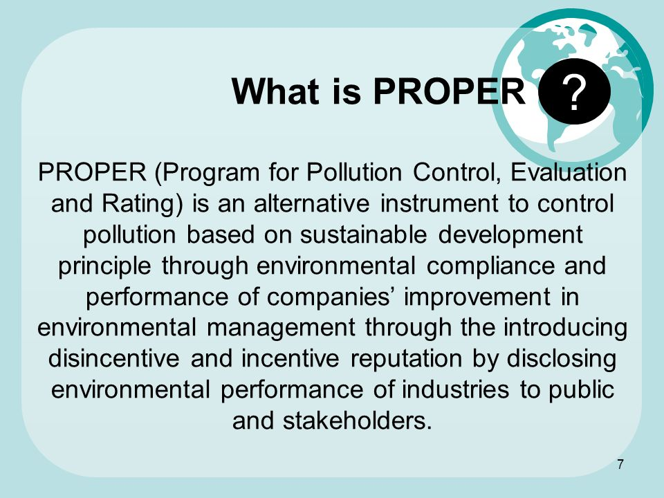 What is PROPER.