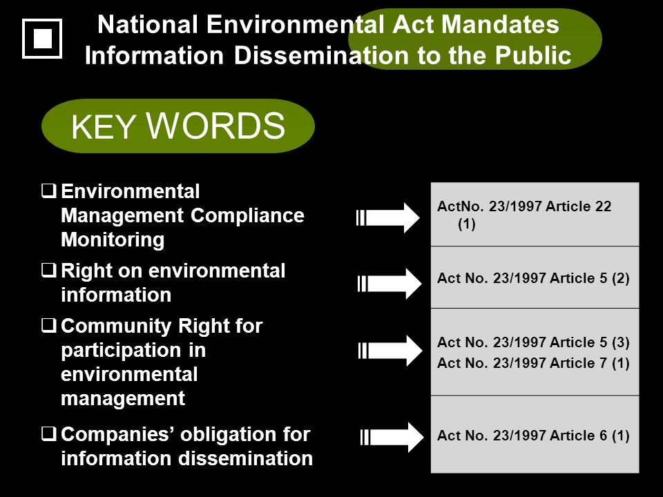 National Environmental Act Mandates Information Dissemination to the Public