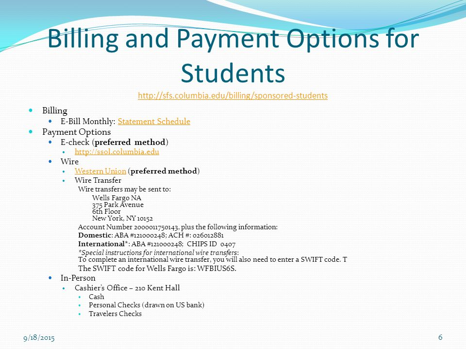 Us Bank International Wiring Instructions : Student financial services accounts ppt video