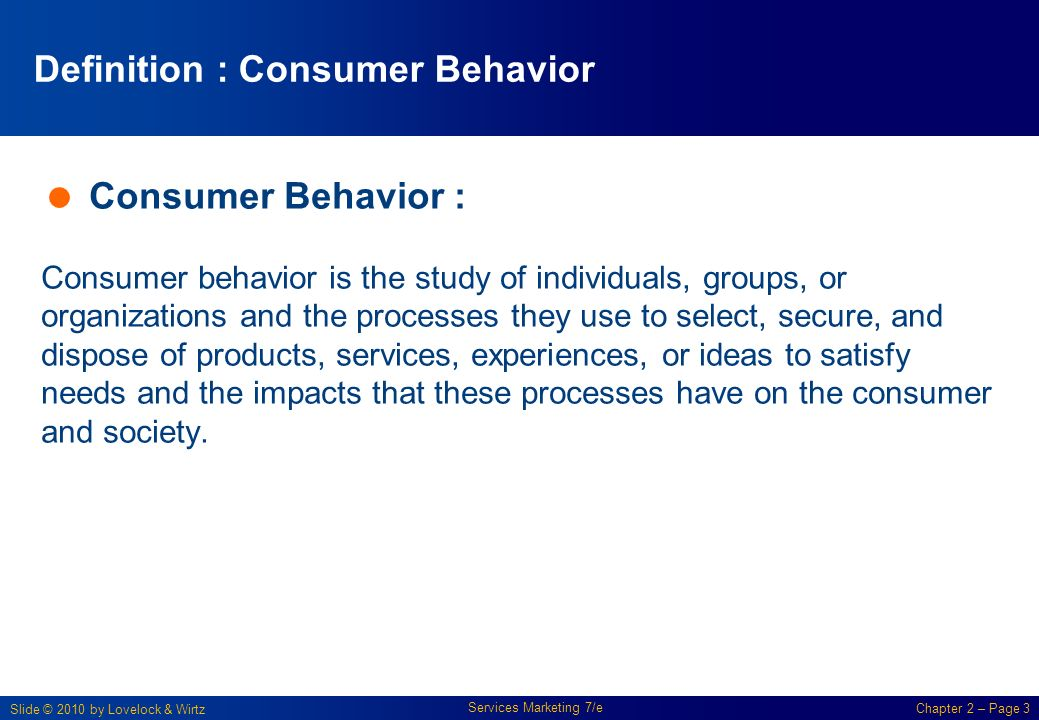 definition of consumer behaviour Definition of consumer behavior individuals or groups acquiring, using and disposing of products, services, ideas, or experiences includes search for information and actual purchase.