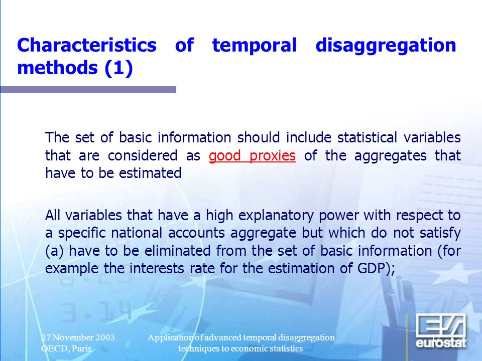 Characteristics of temporal disaggregation methods (1)