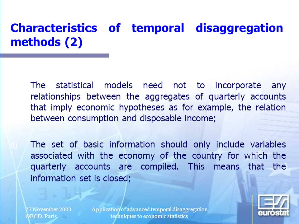 Characteristics of temporal disaggregation methods (2)