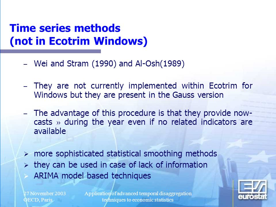 Time series methods (not in Ecotrim Windows)
