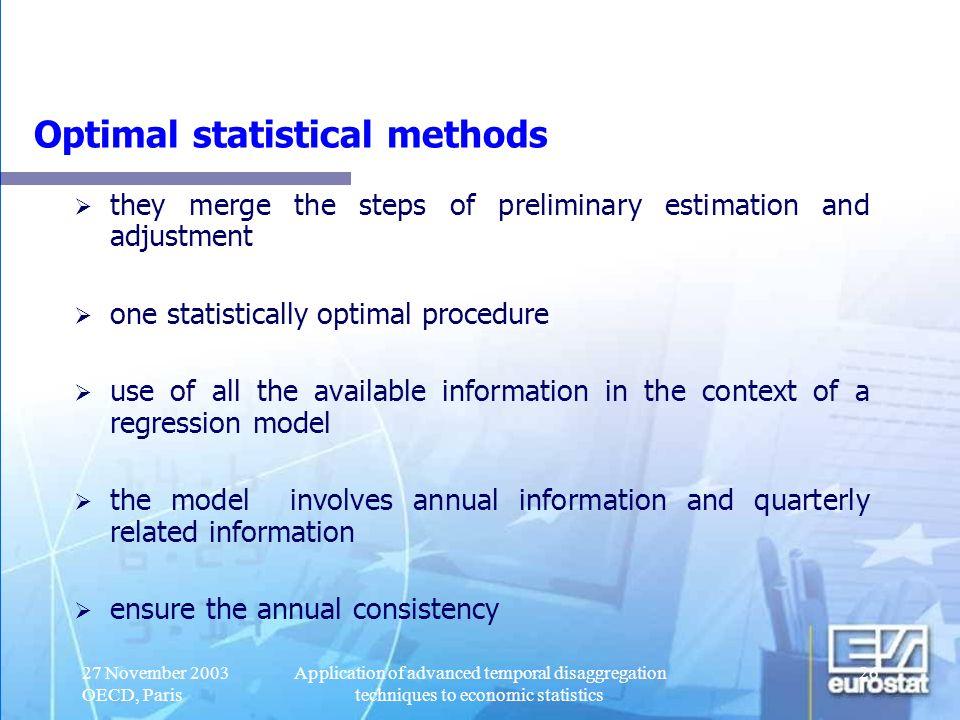 Optimal statistical methods