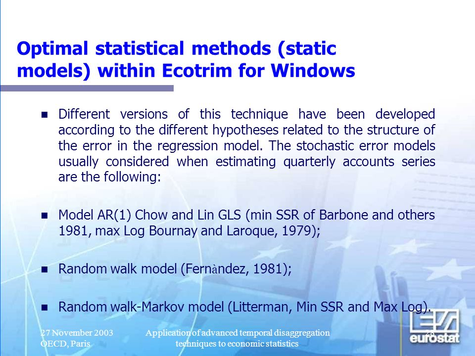 Optimal statistical methods (static models) within Ecotrim for Windows
