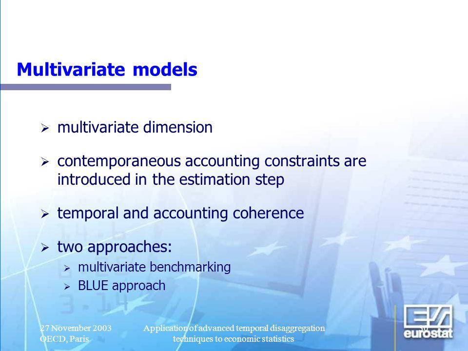 Multivariate models multivariate dimension