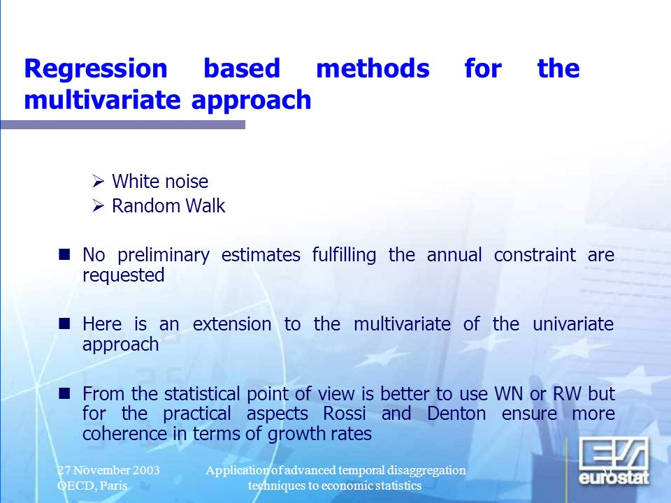 Regression based methods for the multivariate approach