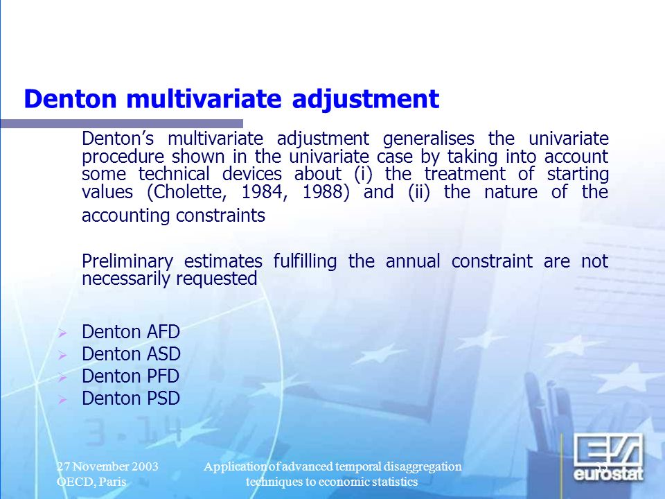 Denton multivariate adjustment