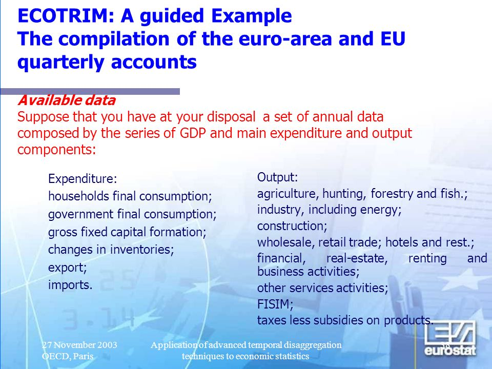ECOTRIM: A guided Example The compilation of the euro-area and EU quarterly accounts Available data Suppose that you have at your disposal a set of annual data composed by the series of GDP and main expenditure and output components: