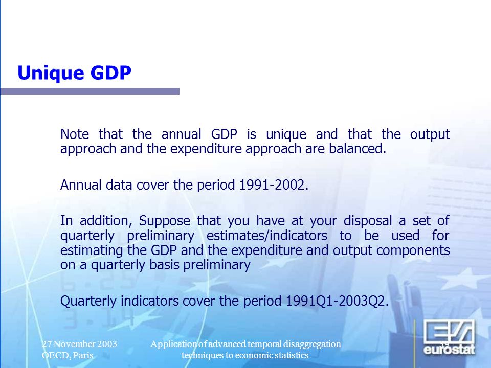 Unique GDP Note that the annual GDP is unique and that the output approach and the expenditure approach are balanced.