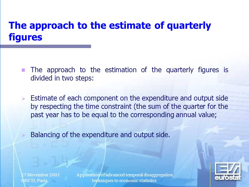 The approach to the estimate of quarterly figures
