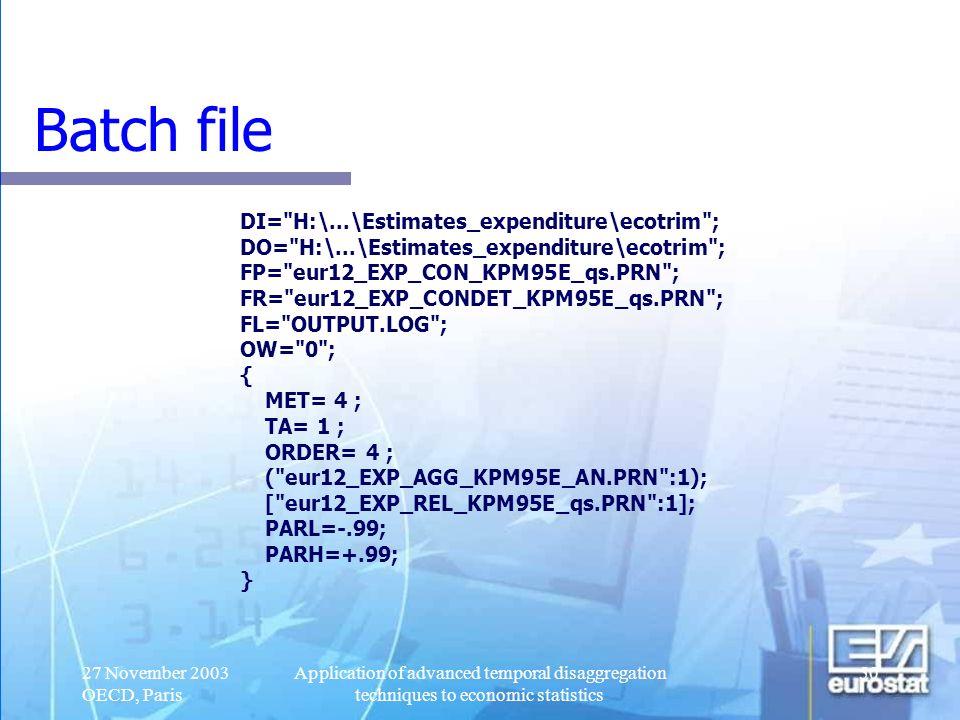Batch file DI= H:\...\Estimates_expenditure\ecotrim ;