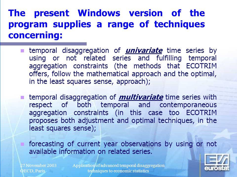 The present Windows version of the program supplies a range of techniques concerning: