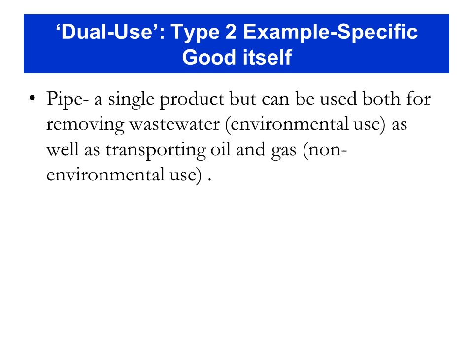 'Dual-Use': Type 2 Example-Specific Good itself