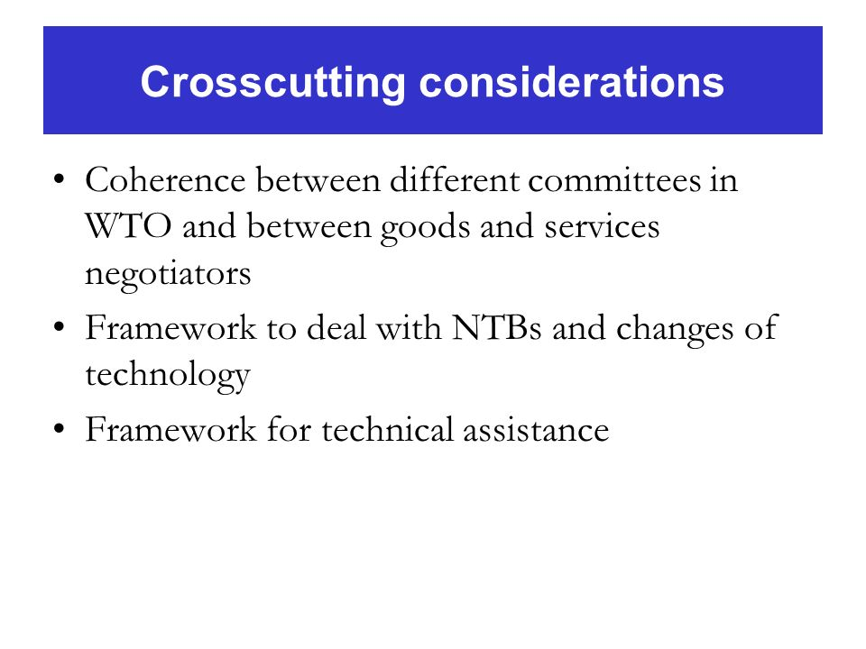 Crosscutting considerations