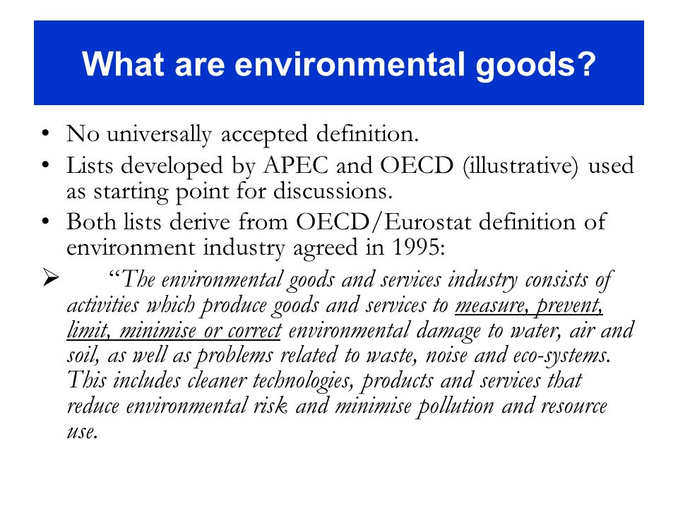 What are environmental goods