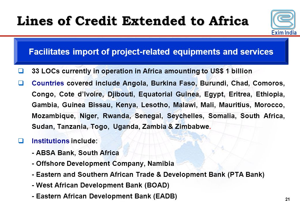 Lines of Credit Extended to Africa