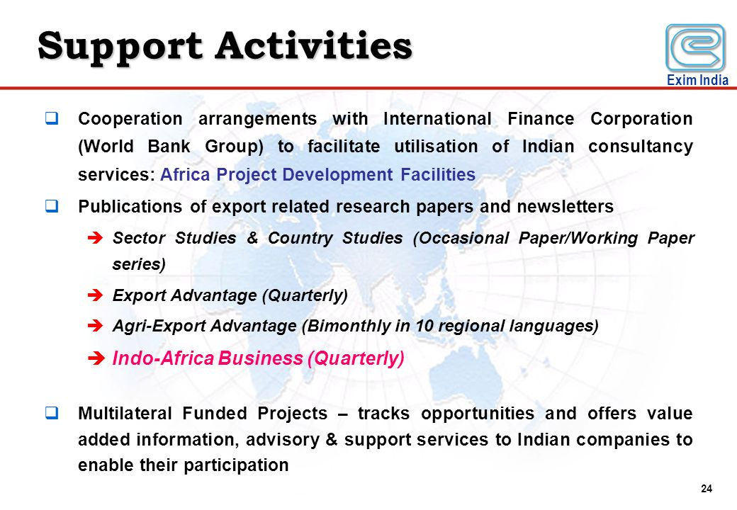 Support Activities Indo-Africa Business (Quarterly)