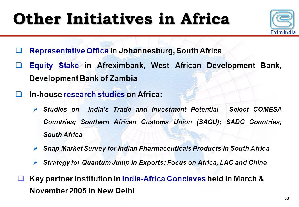 Other Initiatives in Africa