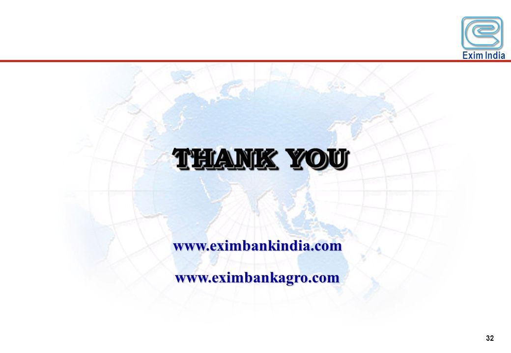 THANK YOU www.eximbankindia.com www.eximbankagro.com