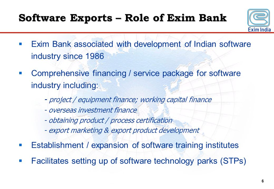 Software Exports – Role of Exim Bank