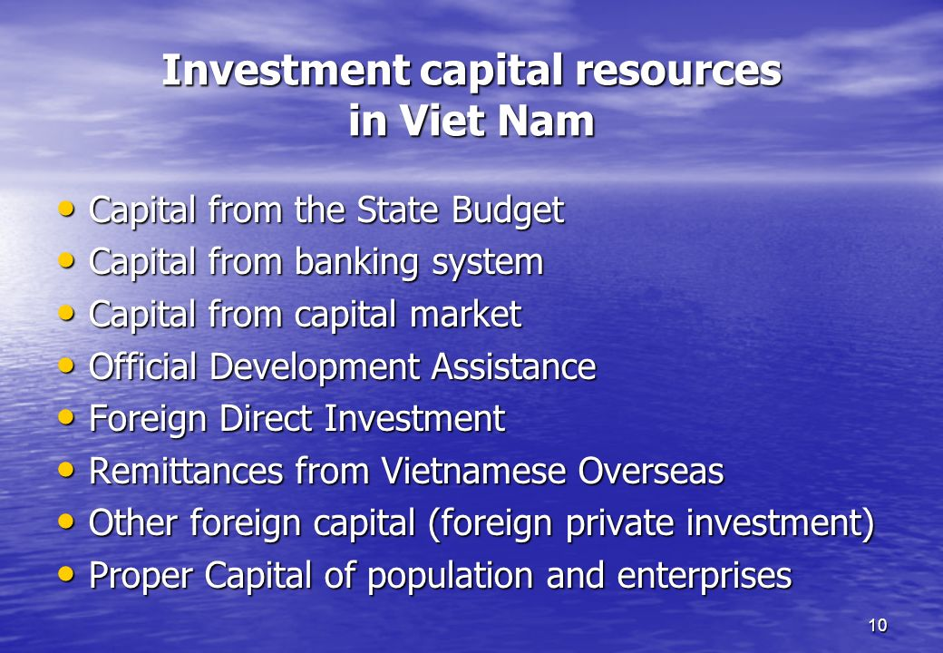 Investment capital resources in Viet Nam