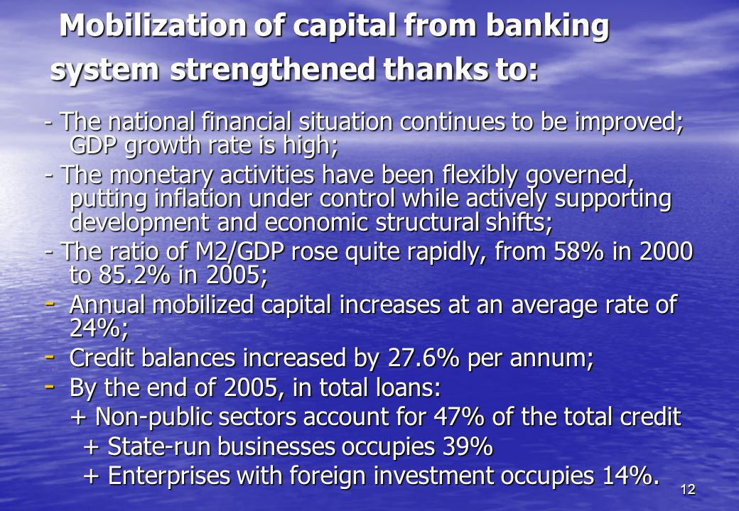 Mobilization of capital from banking system strengthened thanks to: