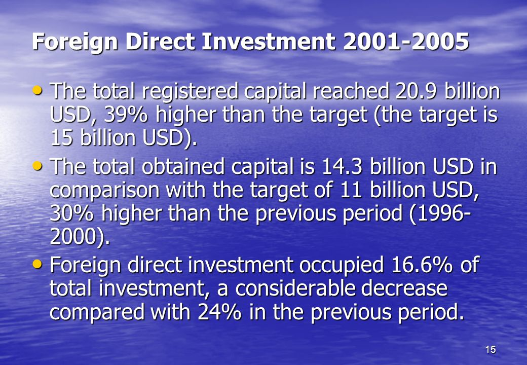 Foreign Direct Investment 2001-2005
