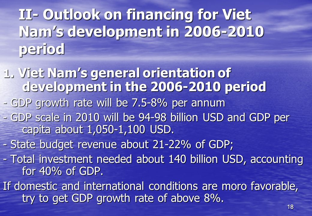 II- Outlook on financing for Viet Nam's development in 2006-2010 period