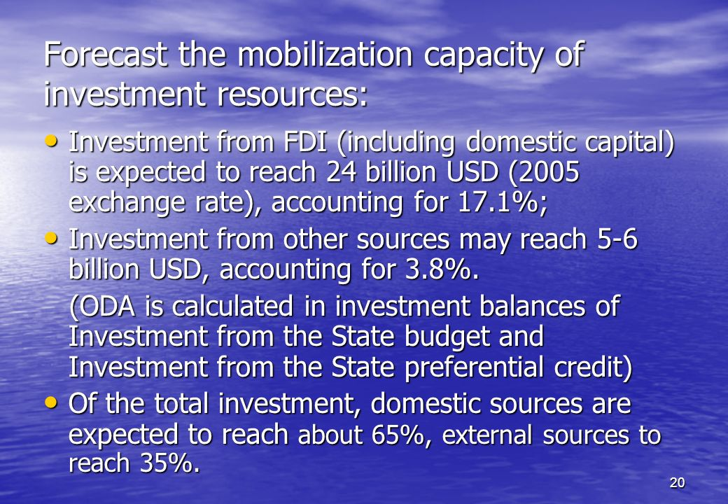 Forecast the mobilization capacity of investment resources:
