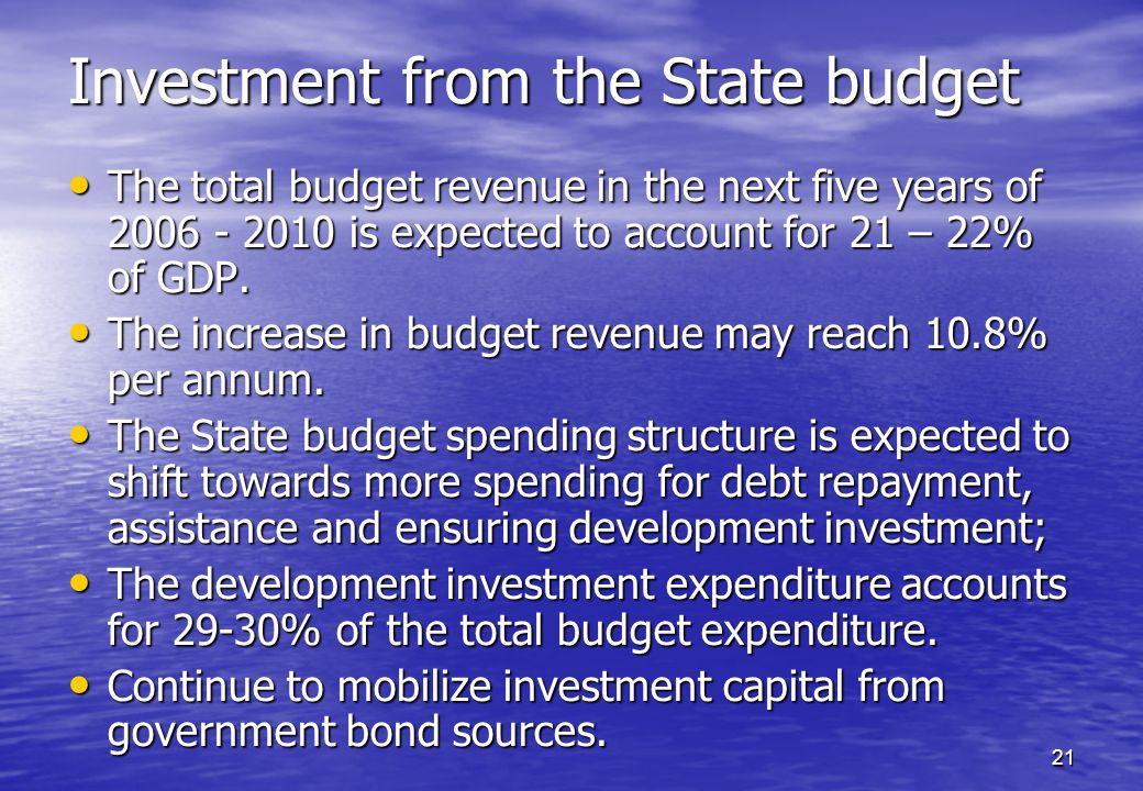 Investment from the State budget
