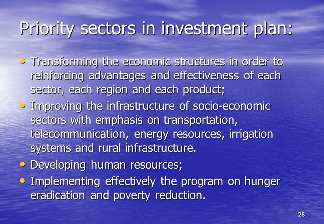 Priority sectors in investment plan: