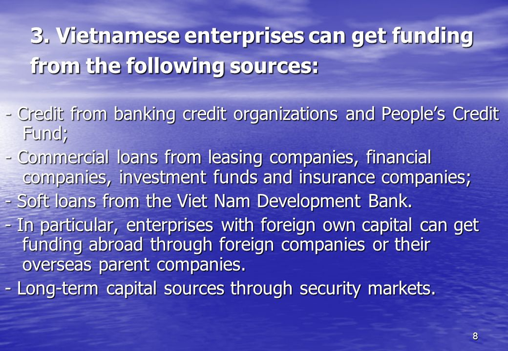 3. Vietnamese enterprises can get funding from the following sources: