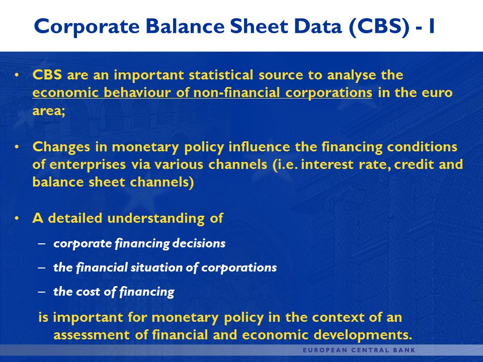 Corporate Balance Sheet Data (CBS) - I