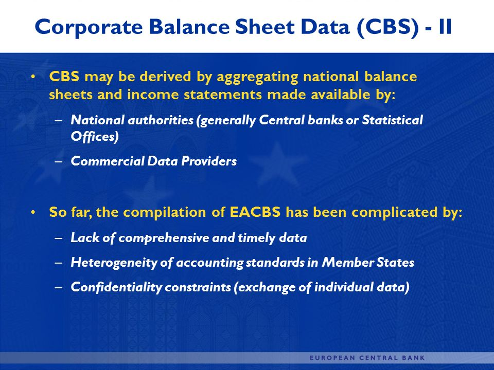Corporate Balance Sheet Data (CBS) - II