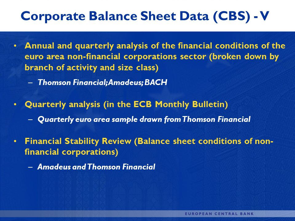 Corporate Balance Sheet Data (CBS) - V