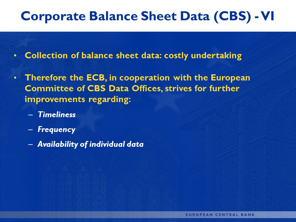 Corporate Balance Sheet Data (CBS) - VI